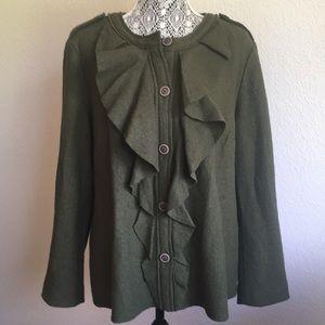 Chico's wool ruffle jacket size 3 women's 16